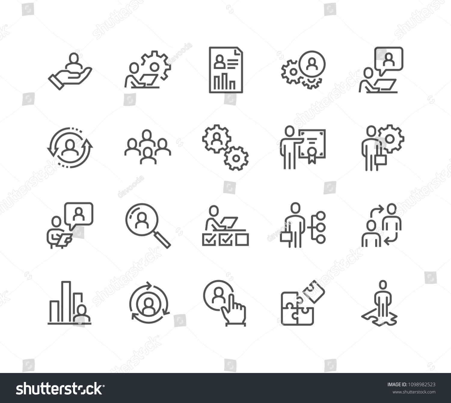 Simple Set of Business Management Related Vector Line Icons.  Contains such Icons as Inspector, Personal Quality, Employee Management and more. Editable Stroke. 48x48 Pixel Perfect. #1098982523