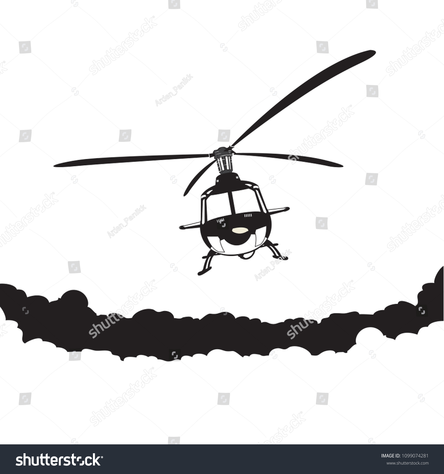 Helicopter Flying Sky Vector Cartoon Stock Vector Royalty Free 1099074281