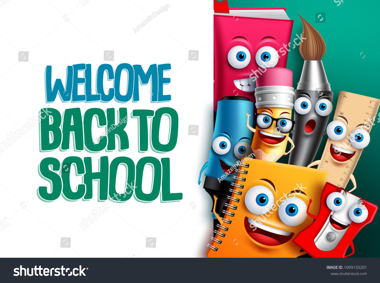 Back School Vector Characters Background Template Image Vectorielle