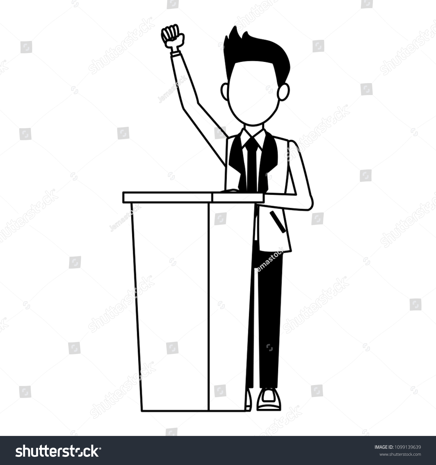 Politician Speaking Cartoon Black White Stock Vector Royalty Free 1099139639