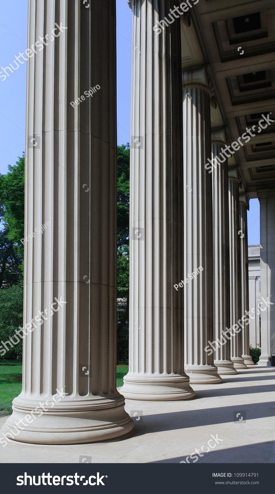 Building Stone Pillars : University building stone columns stock photo