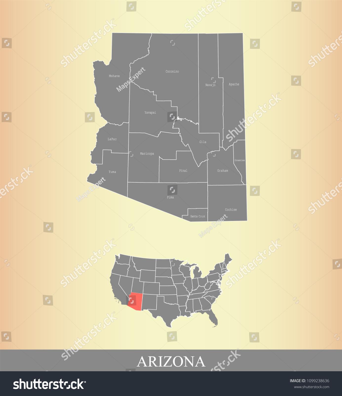 Map Of Arizona By County.Arizona County Map Vector Outline Gray Stock Vector Royalty Free