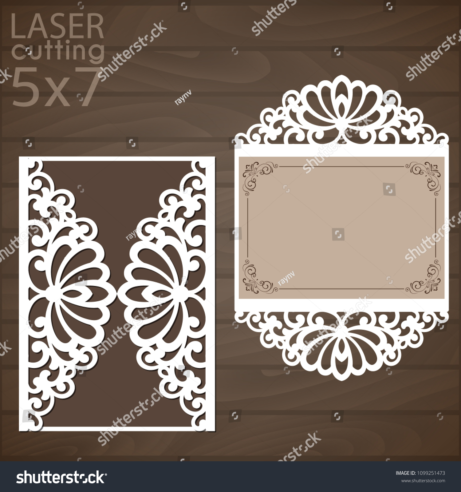 Laser Cut Wedding Invitation Card Template Stock Vector Royalty Free 1099251473