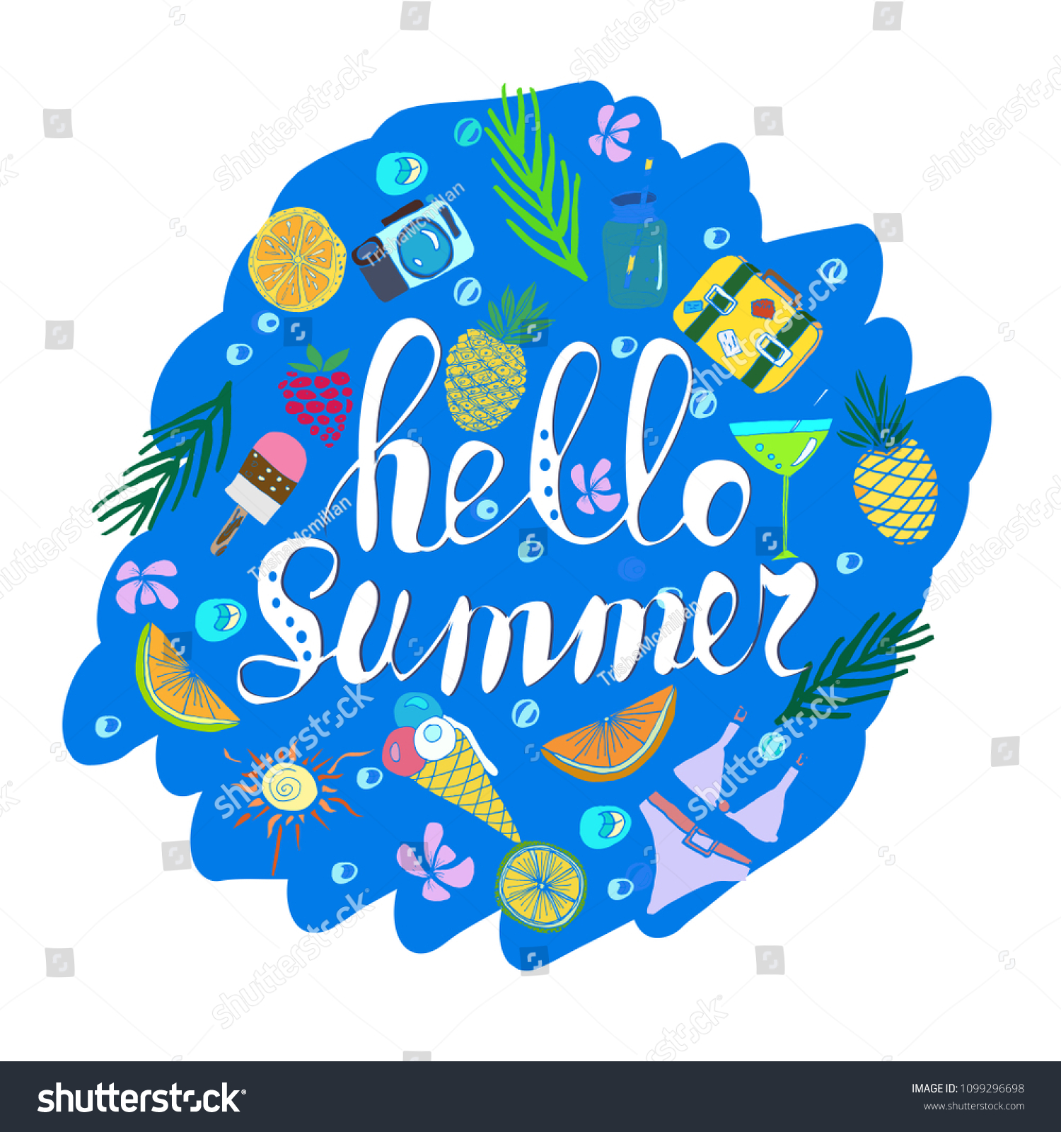 Hand Written Phrase Hello Summer Tropical Stock Vector Royalty Free