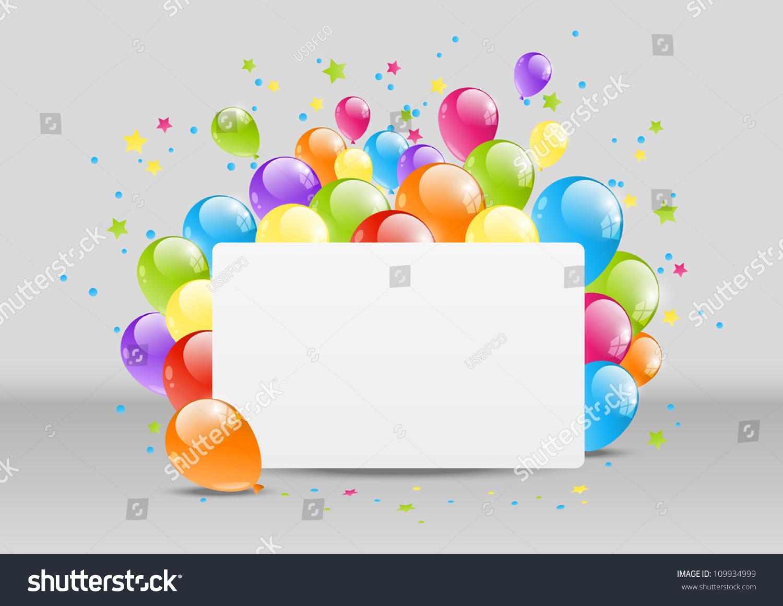 Happy Birthday Background Banner Balloon Stock Vector 109934999 ...