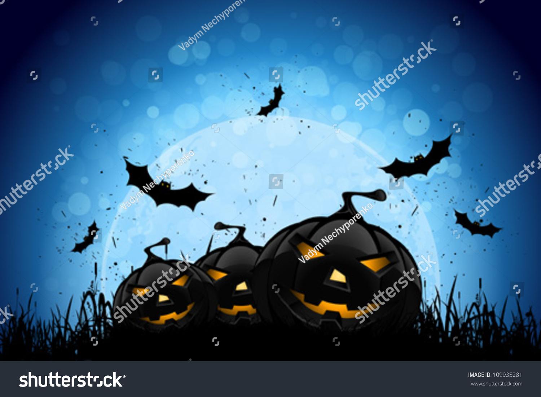 Halloween Party Background Pumpkins Grass Bats Stock Vector ...