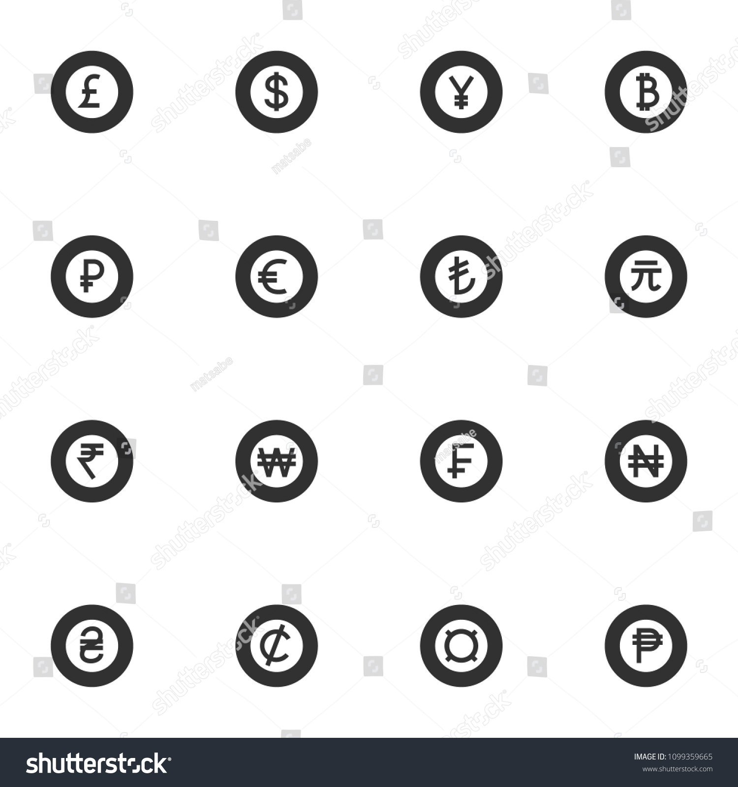 World Currency Monochrome Icons Set Money Stock Vector 1099359665