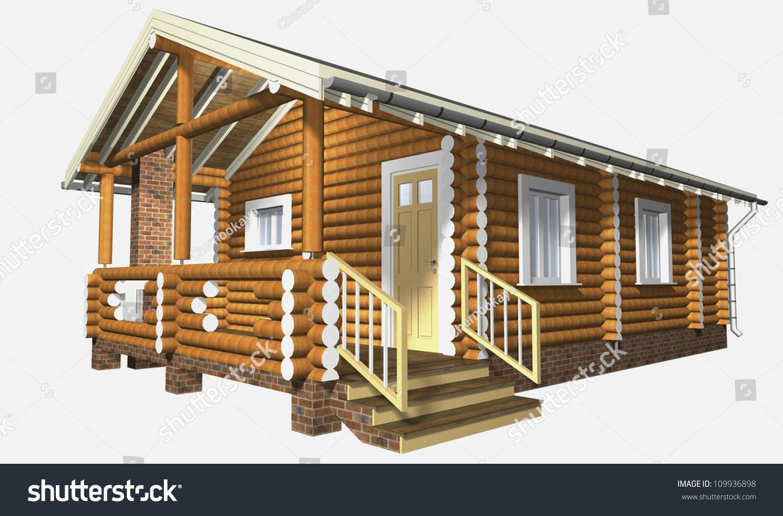 house wooden timber 3d model render stock illustration 109936898 shutterstock. Black Bedroom Furniture Sets. Home Design Ideas