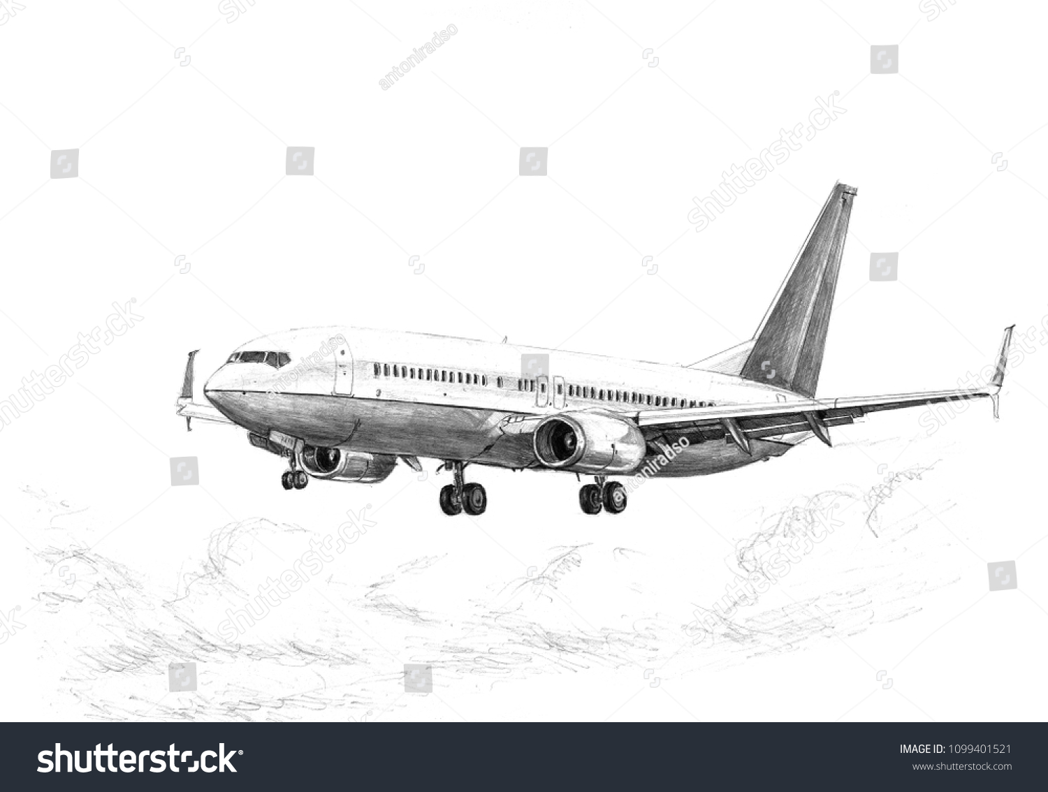 Drawing Airplane Pencil Realistic Black White Stock Illustration