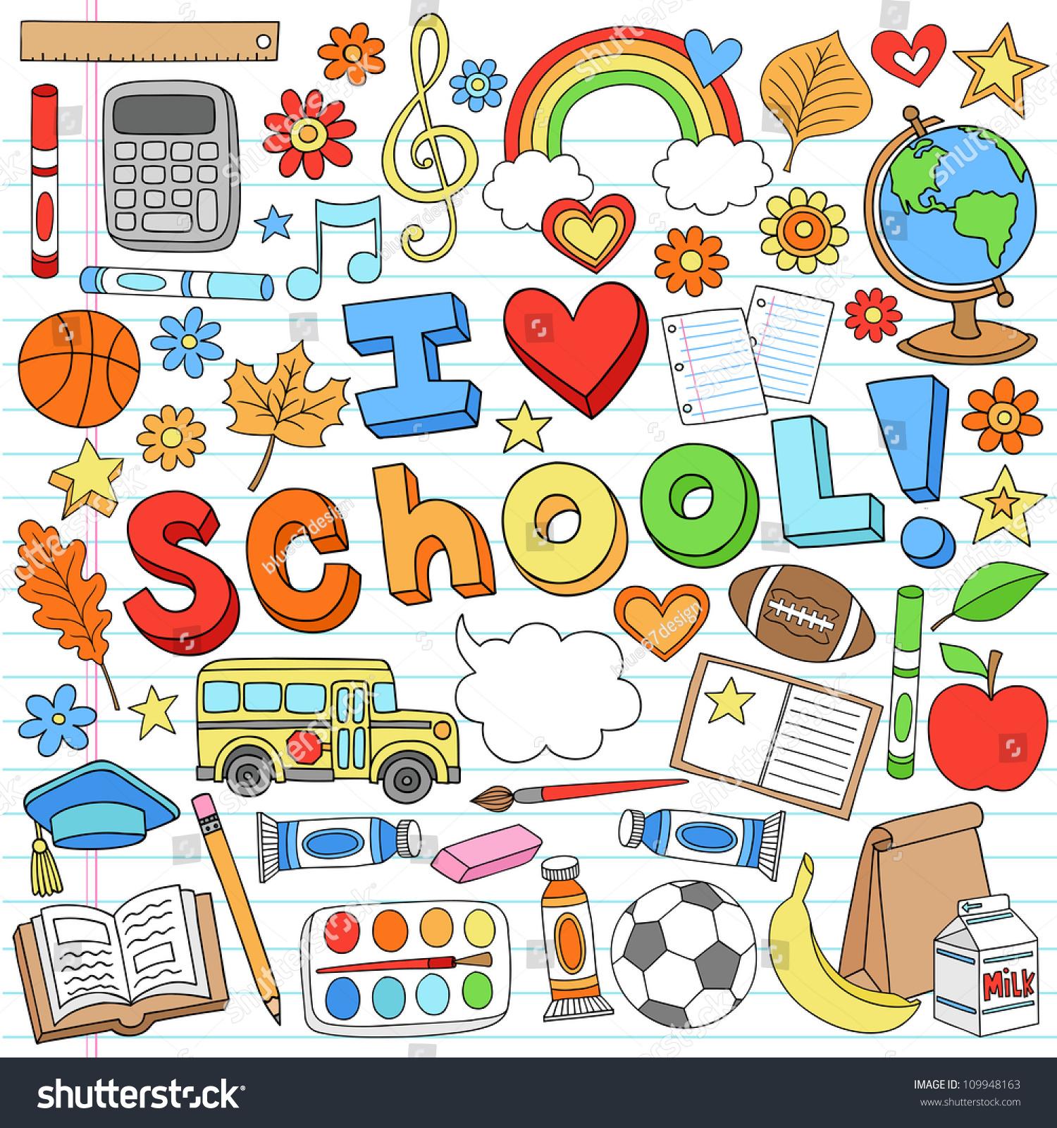 Love School Classroom Supplies Notebook Doodles Stock