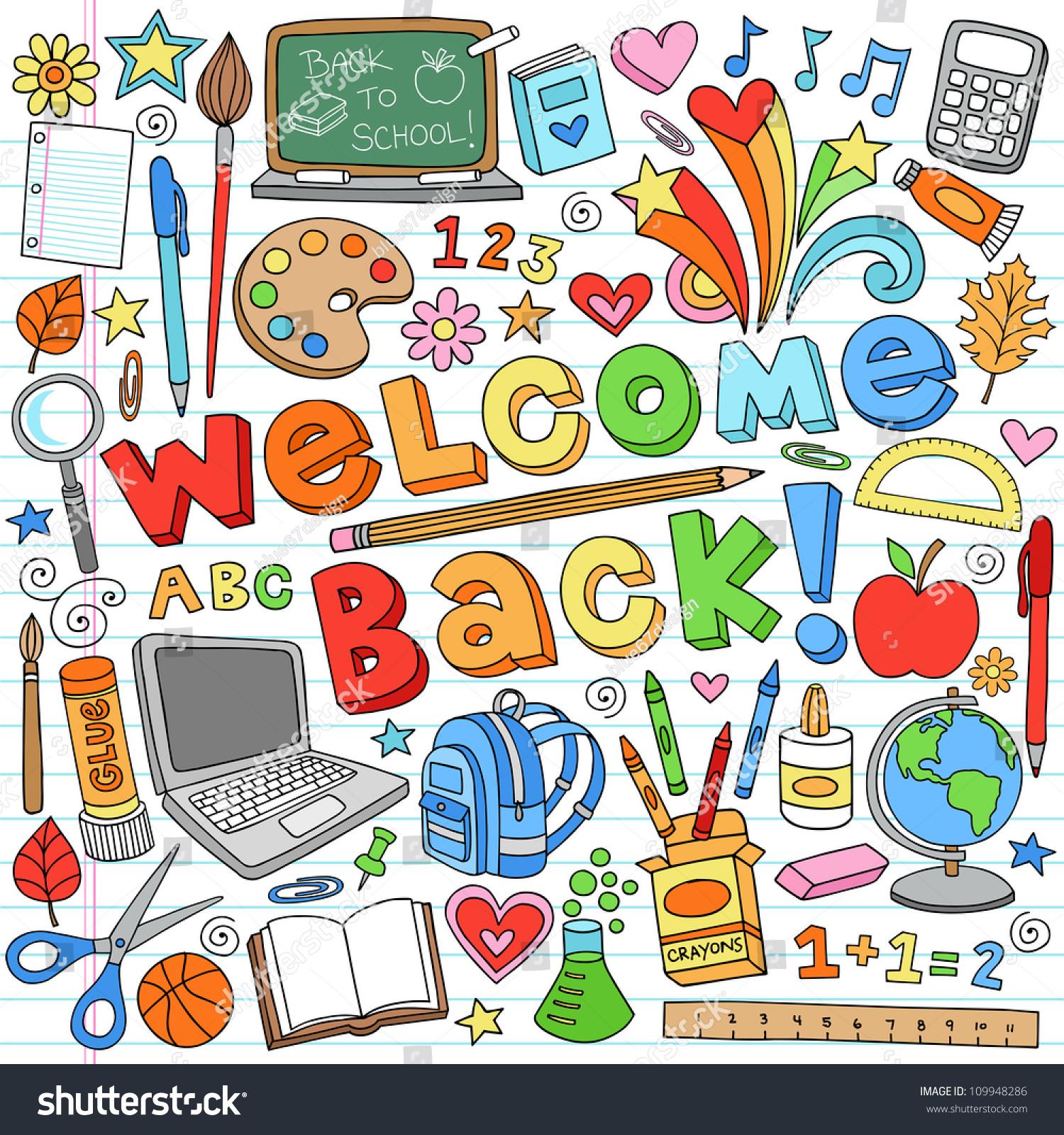 Classroom Design Elements ~ Welcome back school classroom supplies notebook stock