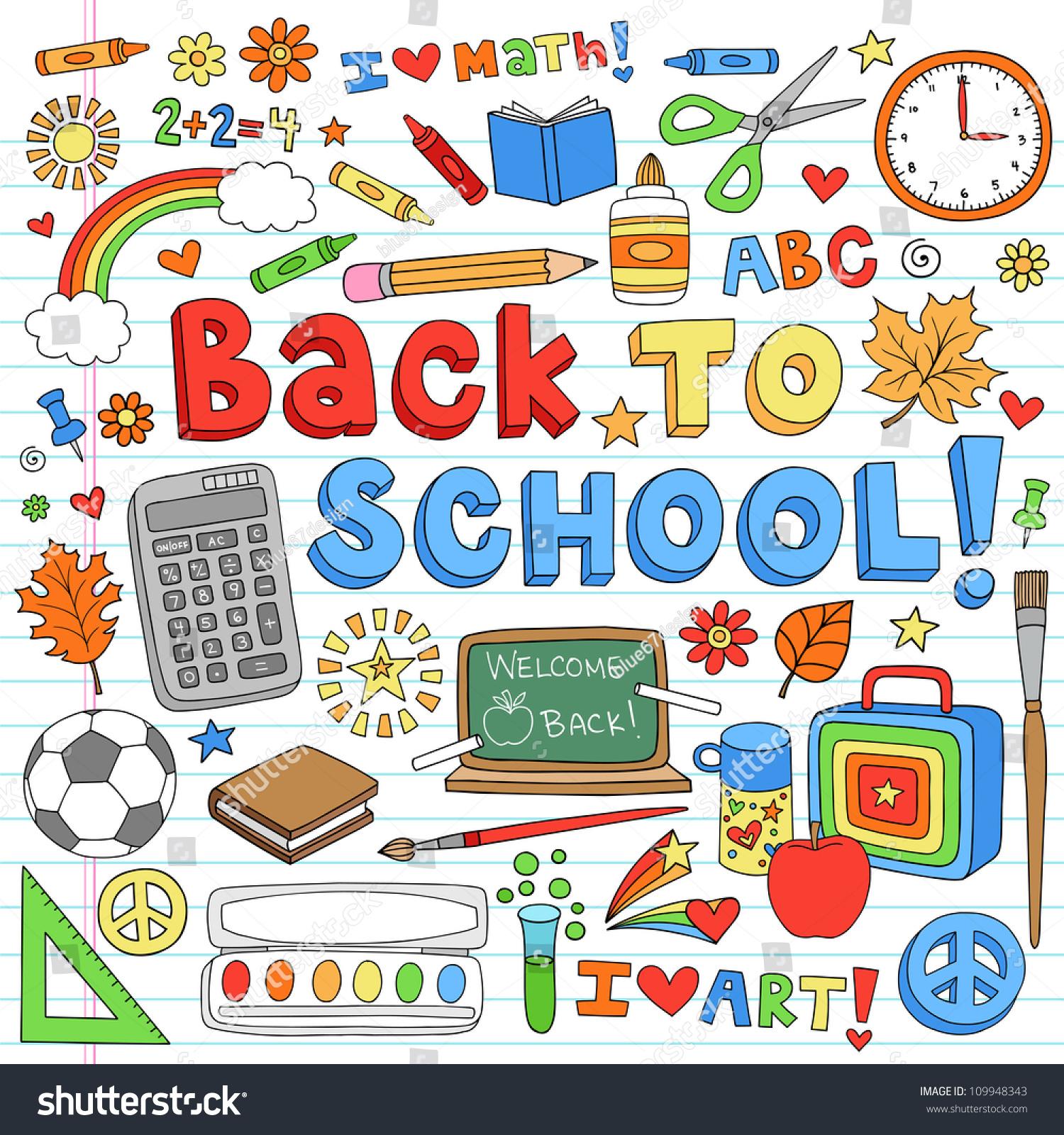 Back School Classroom Supplies Notebook Doodles Stock