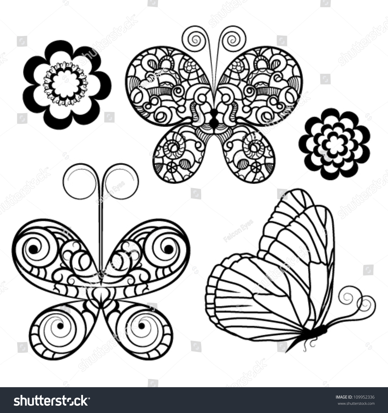 Contour Line Drawing Butterfly : Set butterflies flowers contour drawing stock vector