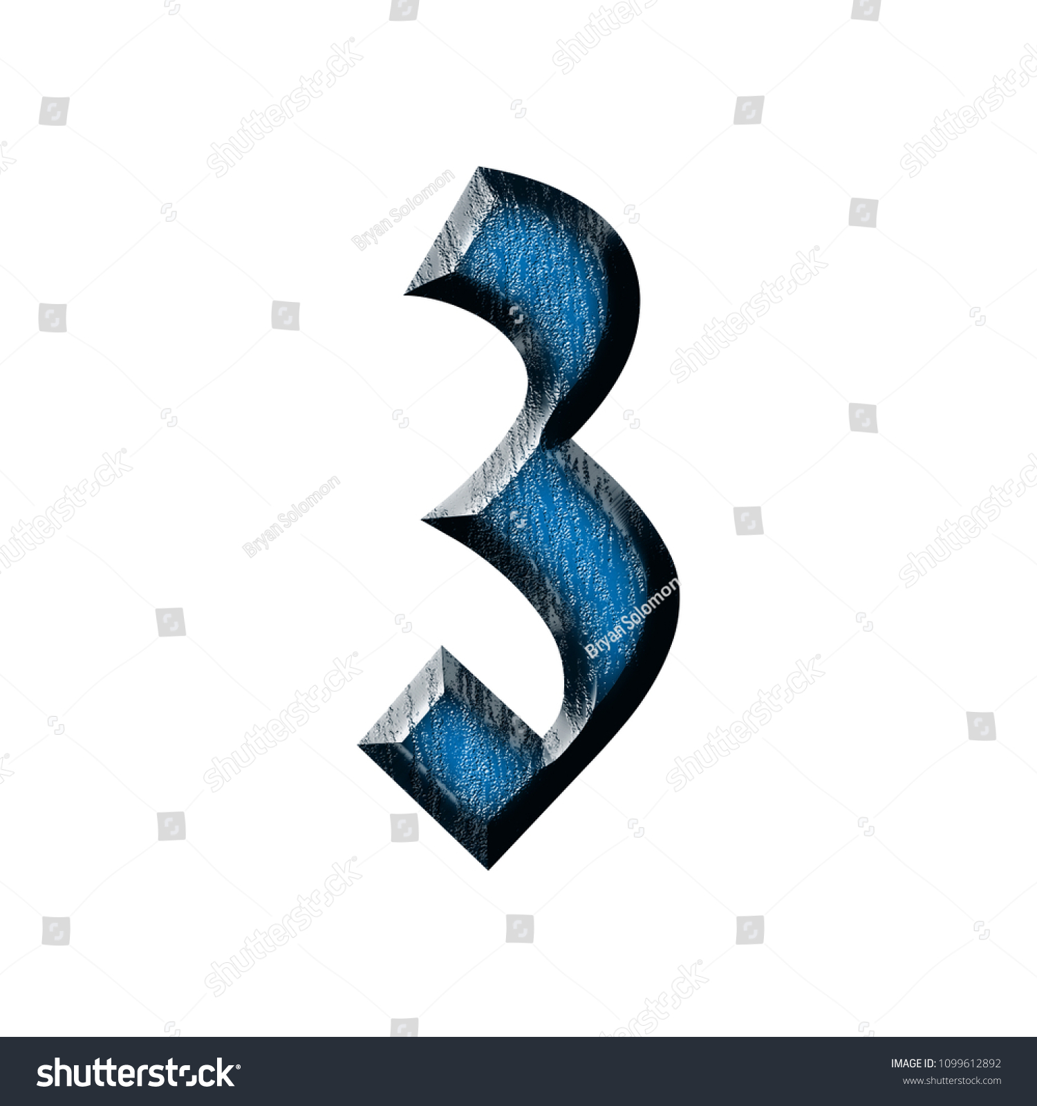 Blue Wood Number Three 3 In A 3D Illustration With Glossy Grain Texture Style