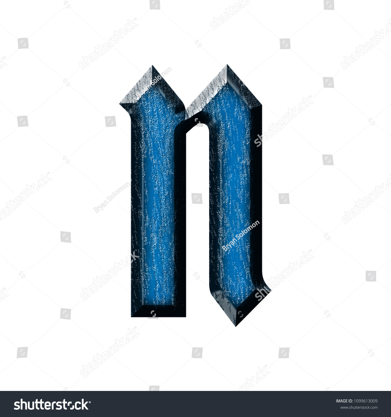Blue Wood Letter N Lowercase In A 3D Illustration With Glossy Grain
