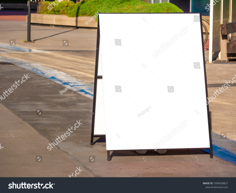 Blank White Outdoor Advertising Standsandwich Board Stock Photo ...
