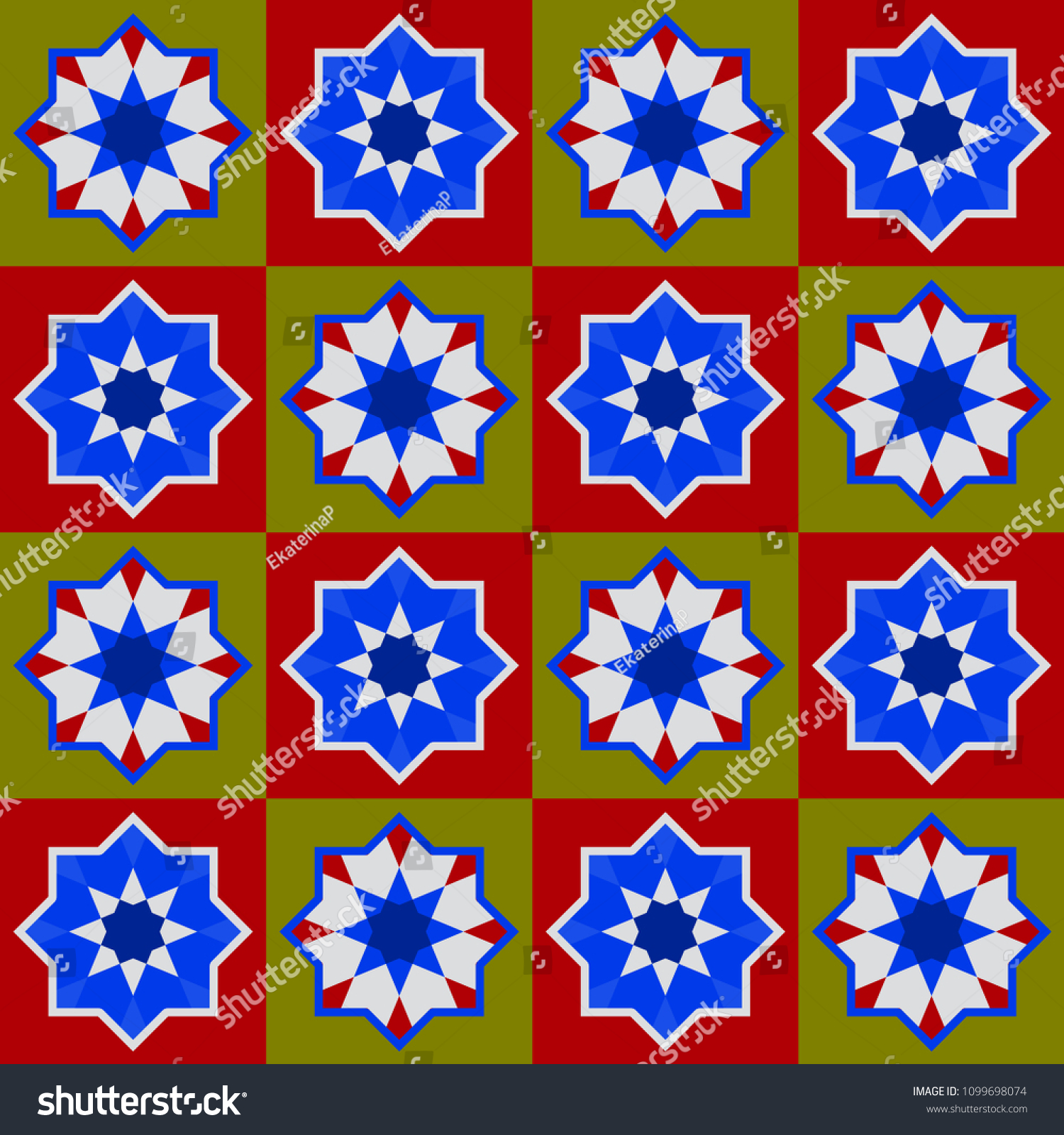 Moroccan Seamless Pattern, Morocco Patchwork Mosaic Traditional Folk Geometric Ornament