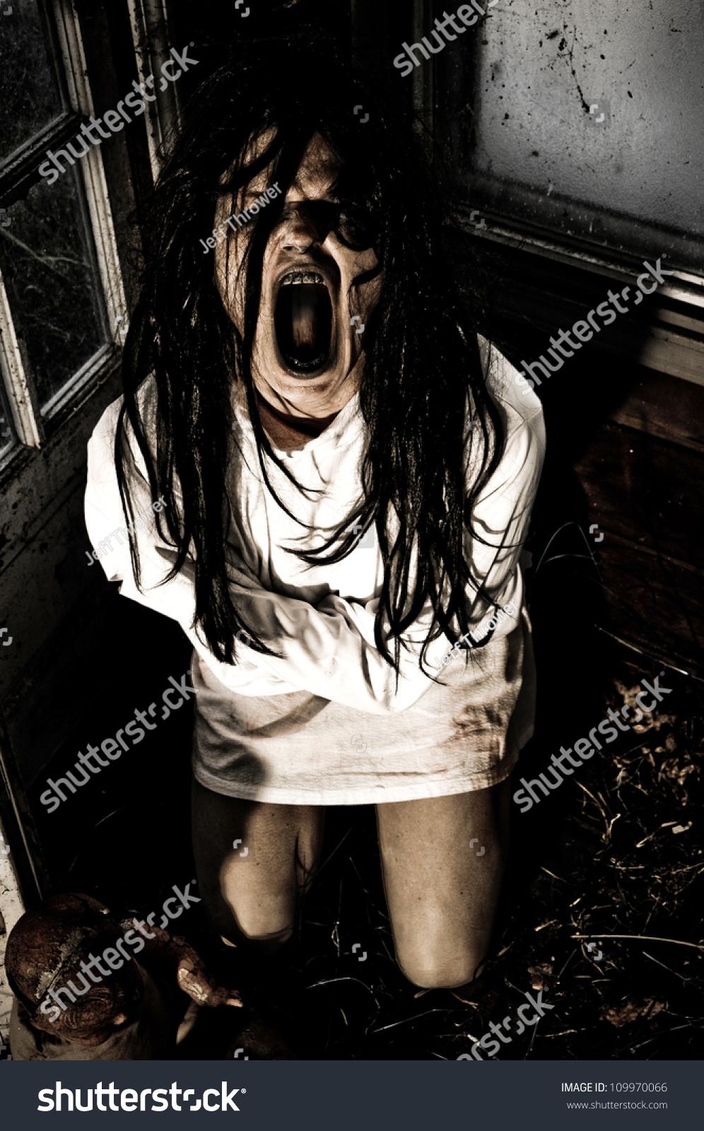 Horror Scene Woman Possessed Wearing Straight Stock Photo