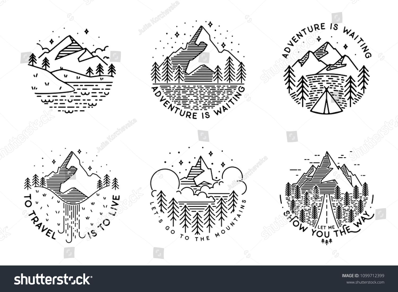 Travel set with emblems. Summer vector illustrations. Design for t-shirt #1099712399