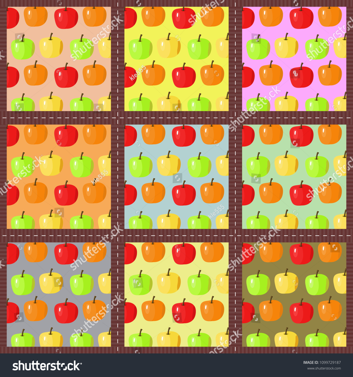 Patchwork Background With Apples