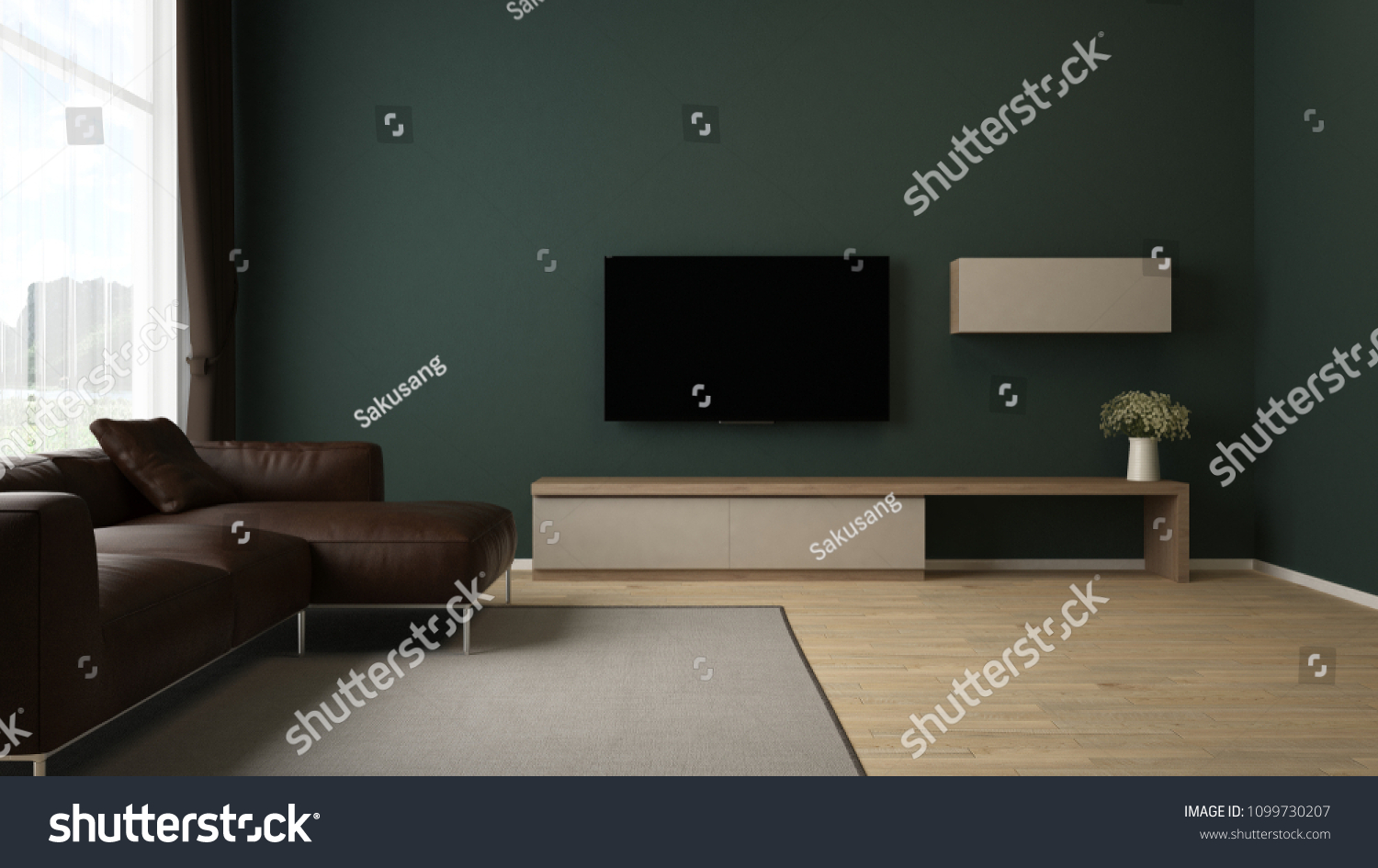 Tv Cabinet Brown Leather Sofa Green Stock Illustration Royalty