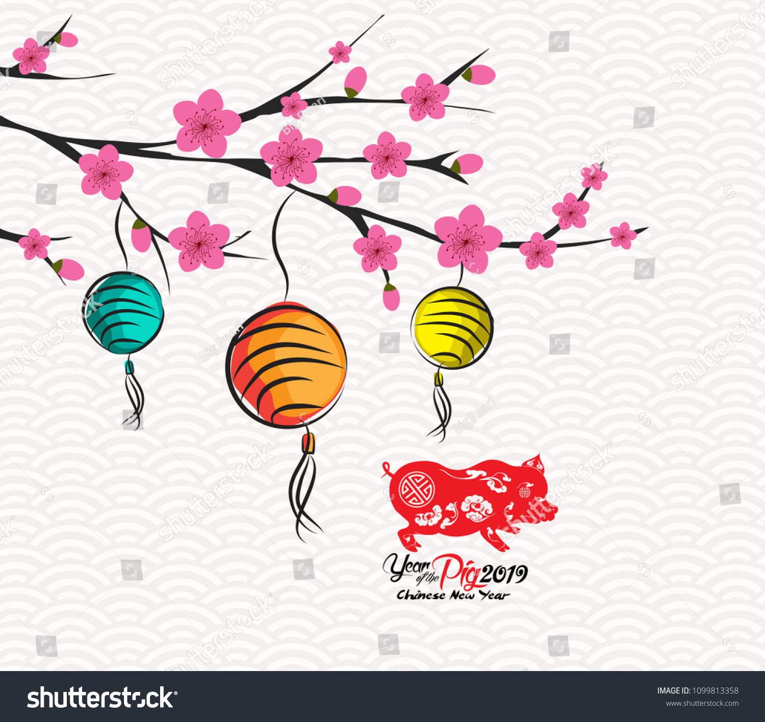Blossom Chinese New Year Lantern And Background Year Of The