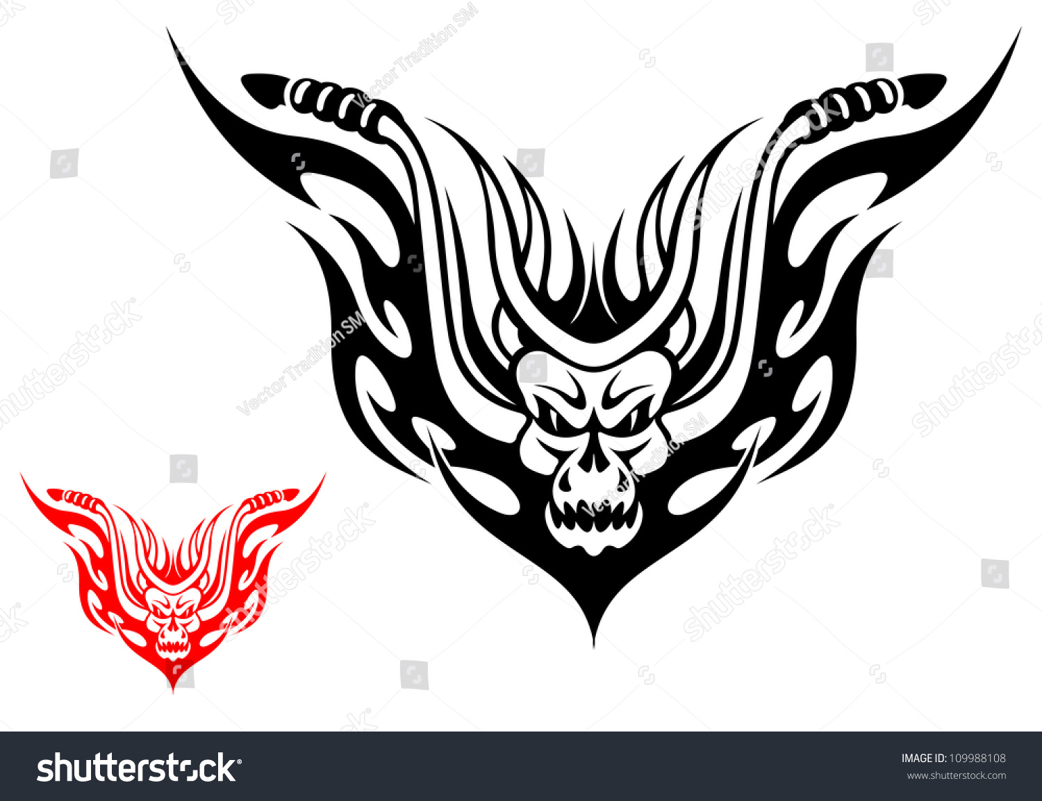 Motorcycle clip art with flames - Tribal Biker Motorcycle Tattoo With Fire Flames Such A Logo Jpeg Version Also Available