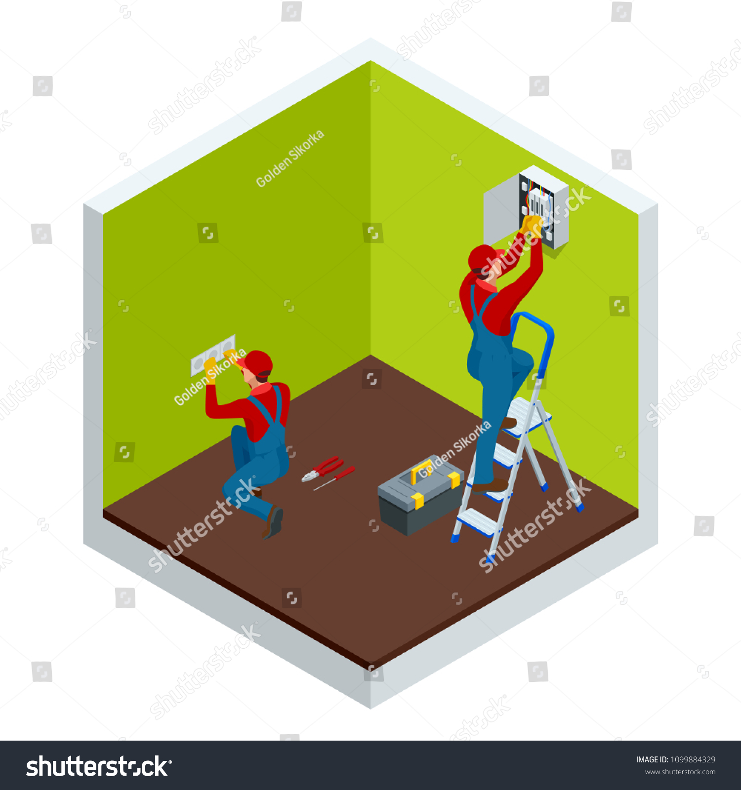 Isometric Master Electrician Work Near Plate Stock Vector Royalty Building Wiring Games At The With A Plurality Of Wires Repairs In