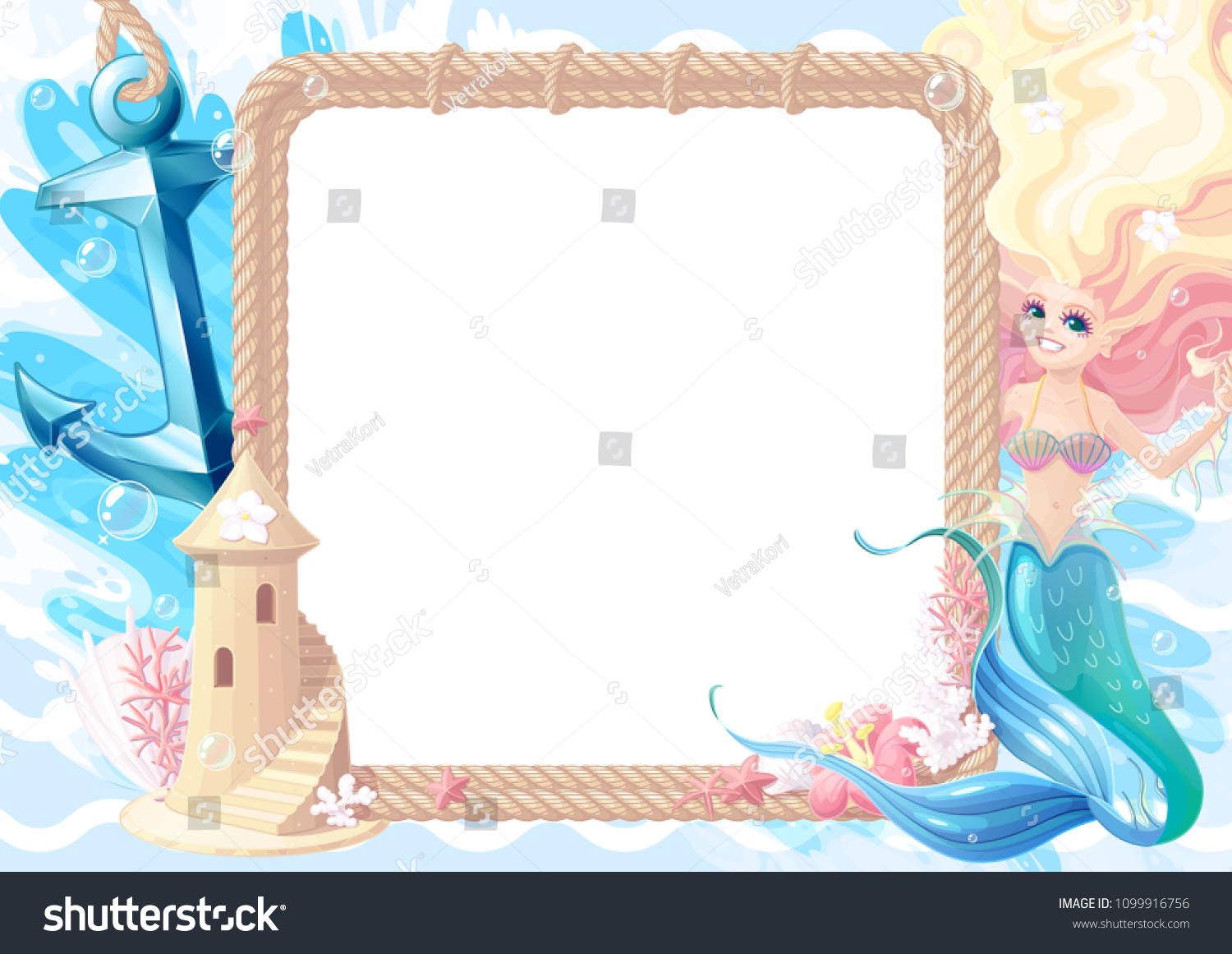Summer Maritime Collage Frame Template Photo Stock Illustration ...
