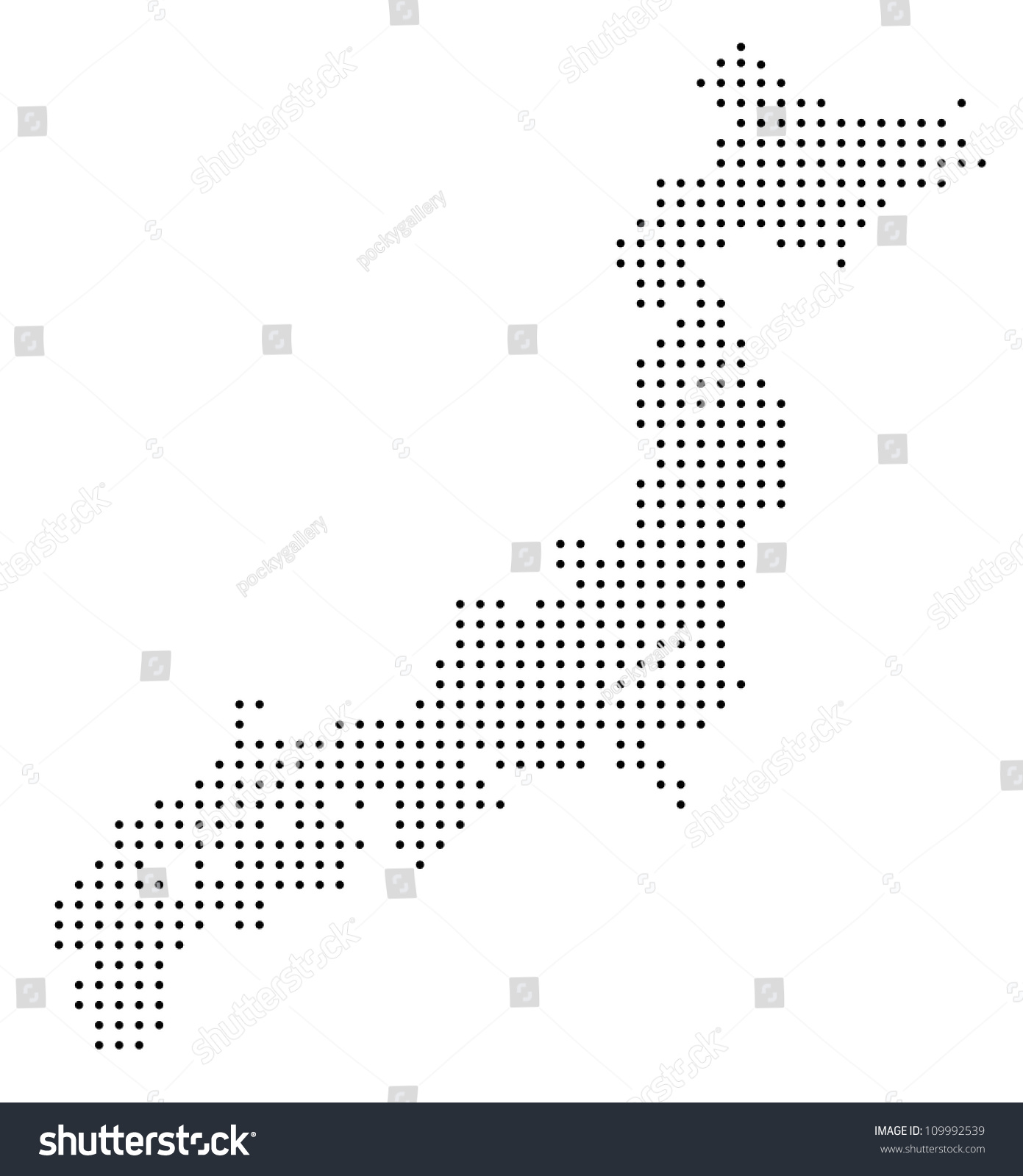 Dotted Japan Map Stock Vector (Royalty Free) 109992539 - Shutterstock
