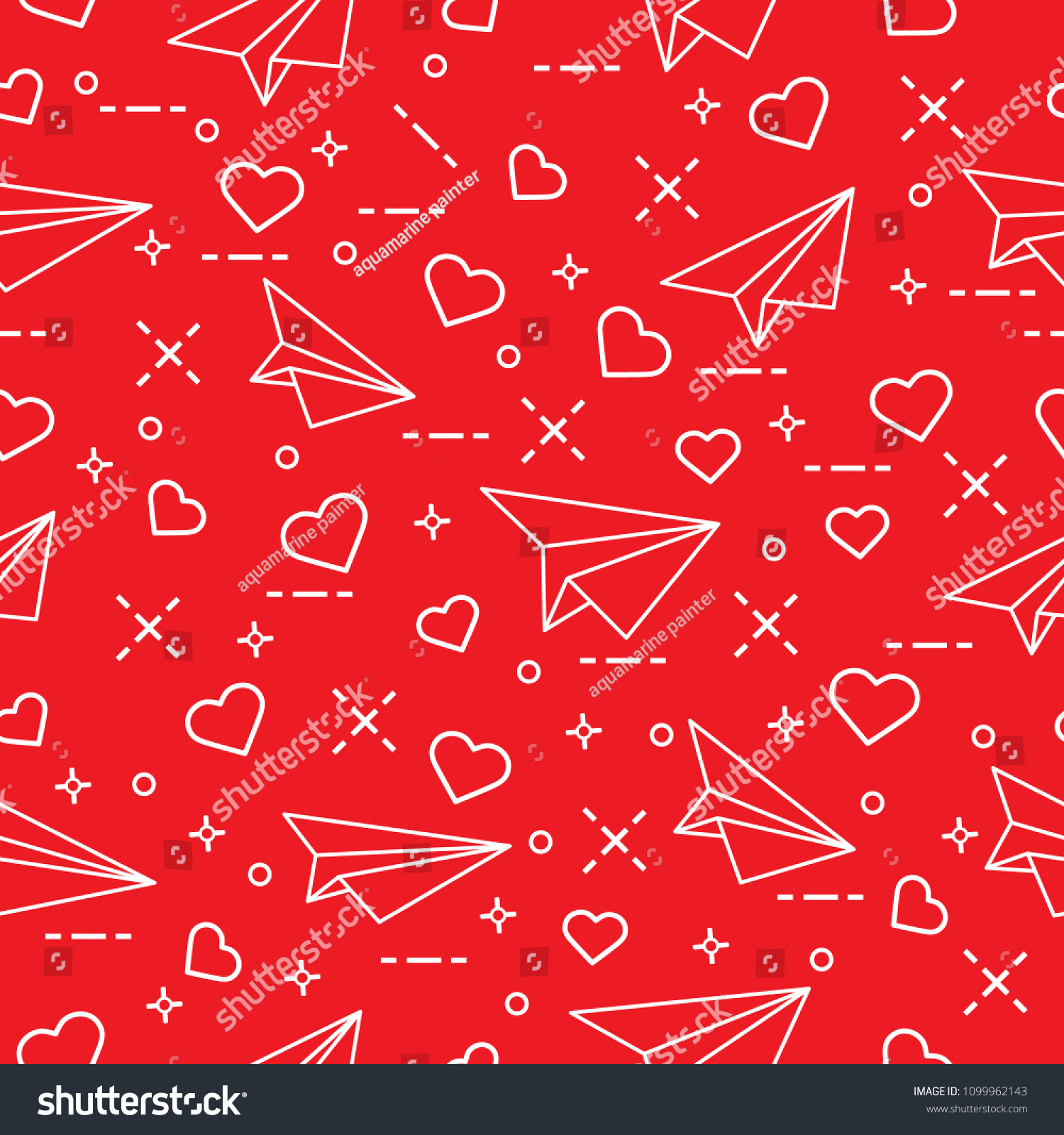 Cute Seamless Pattern With Paper Airplane And Hearts Template For