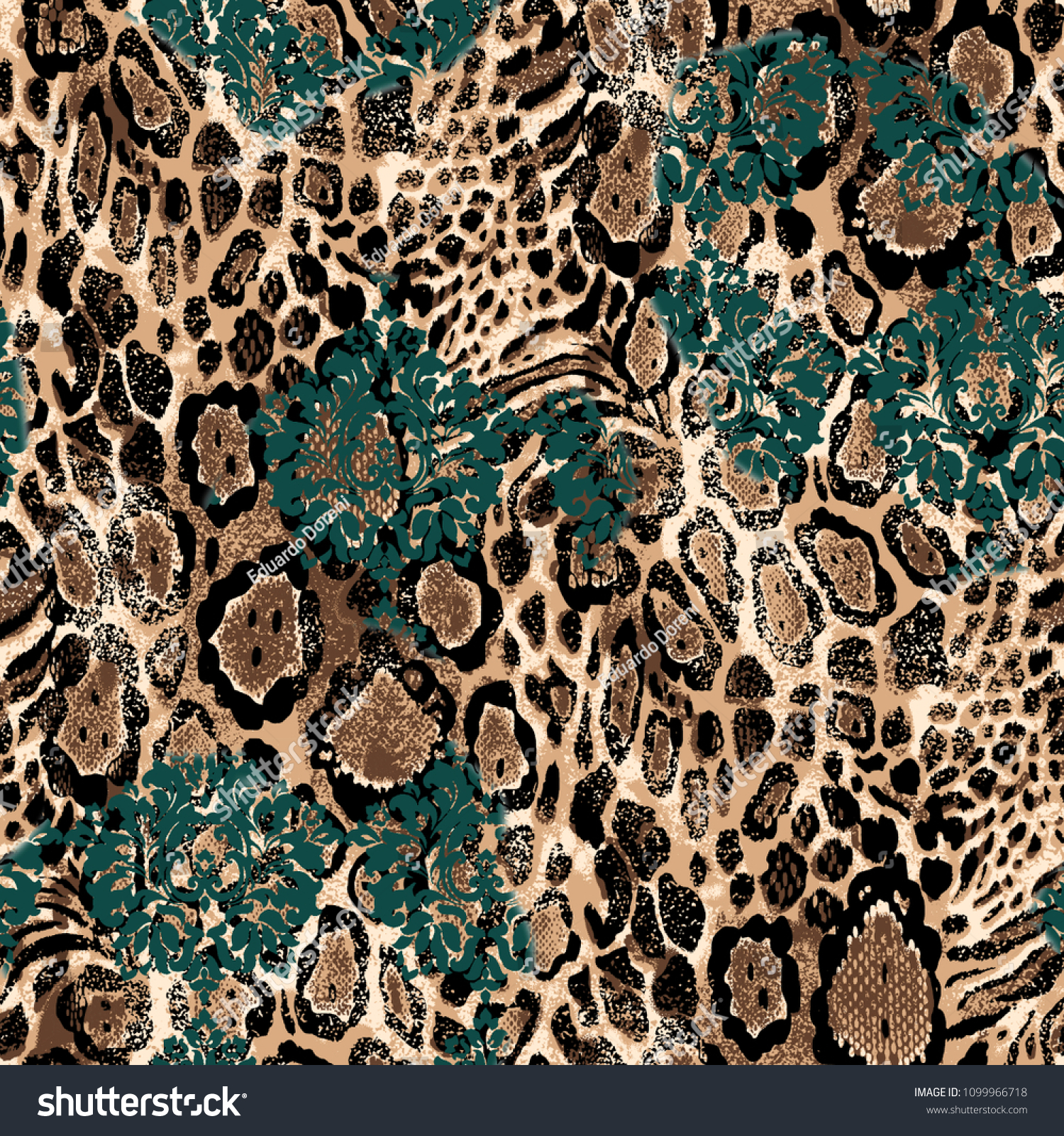 87fd5ecddc Seamless Leopard and Baroque Pattern for Textile Print for printed fabric  design for Womenswear