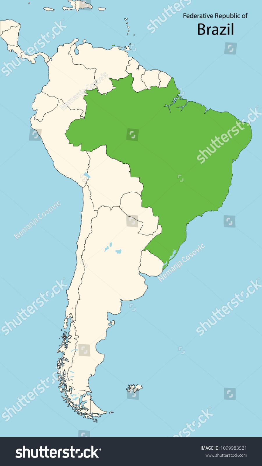 Picture of: Vector De Stock Libre De Regalias Sobre South America Map Brazil1099983521