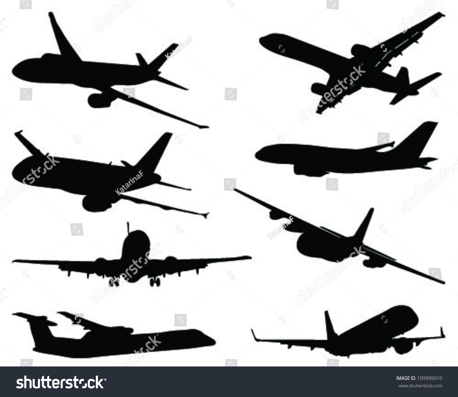 Aircraft Carrier High Detailed Silhouettes Set2 Stock Vector ...