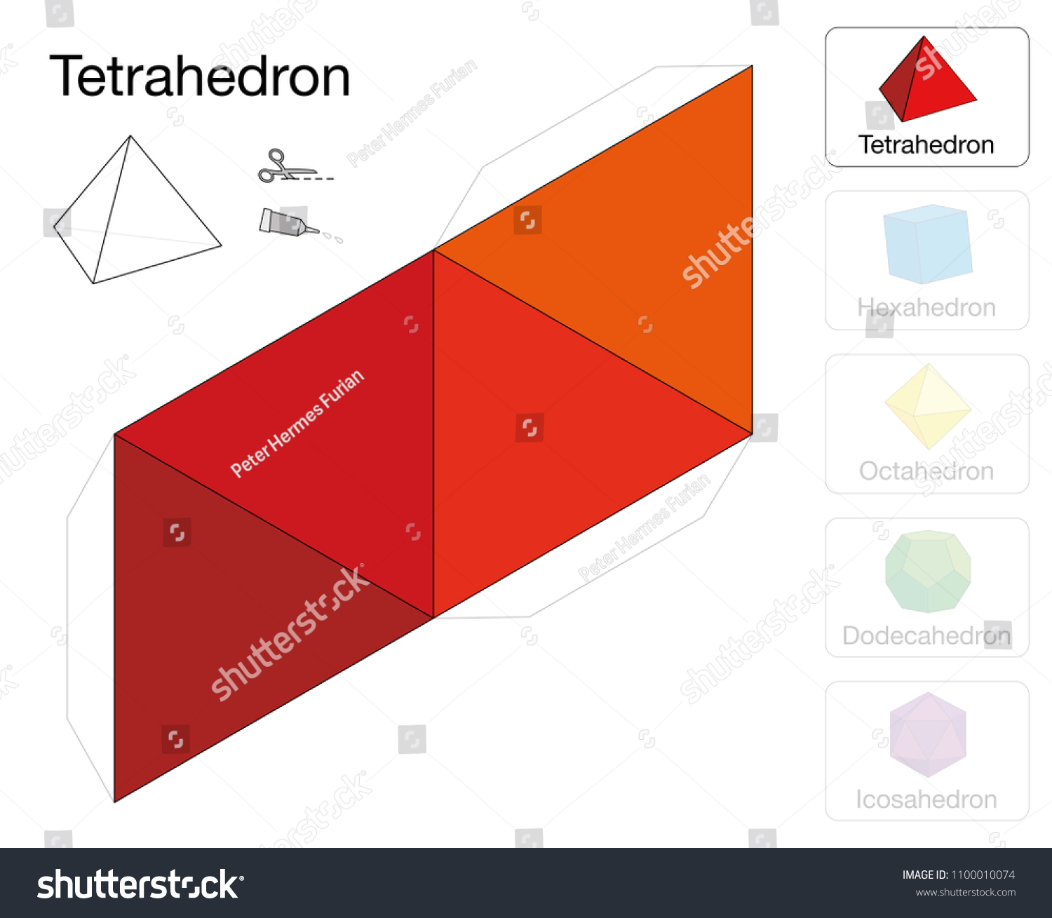 Tetrahedron Platonic Solid Template Paper Model Stock Vector
