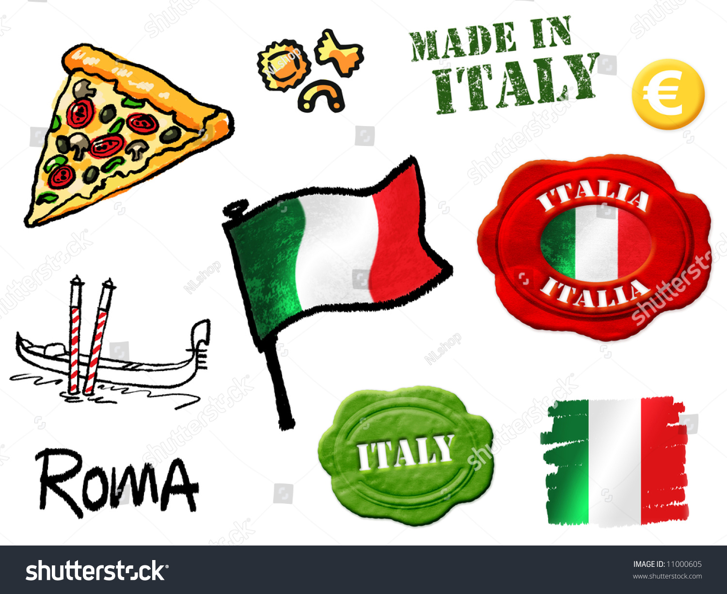 Italy Symbols Stock Photo 11000605 : Shutterstock