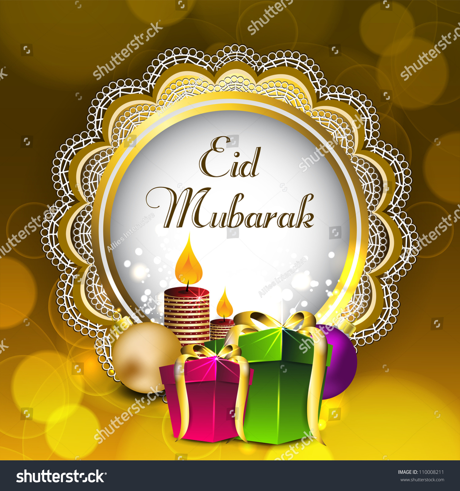 Beautiful greeting card gift boxes candles stock vector 110008211 beautiful greeting card with gift boxes and candles for celebration of muslim community festival eid mubarak kristyandbryce Choice Image