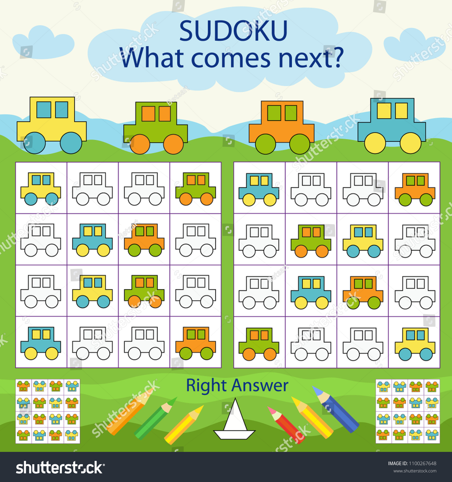 Children Sudoku Kids Colors Car Find Stock Vector (Royalty Free ...