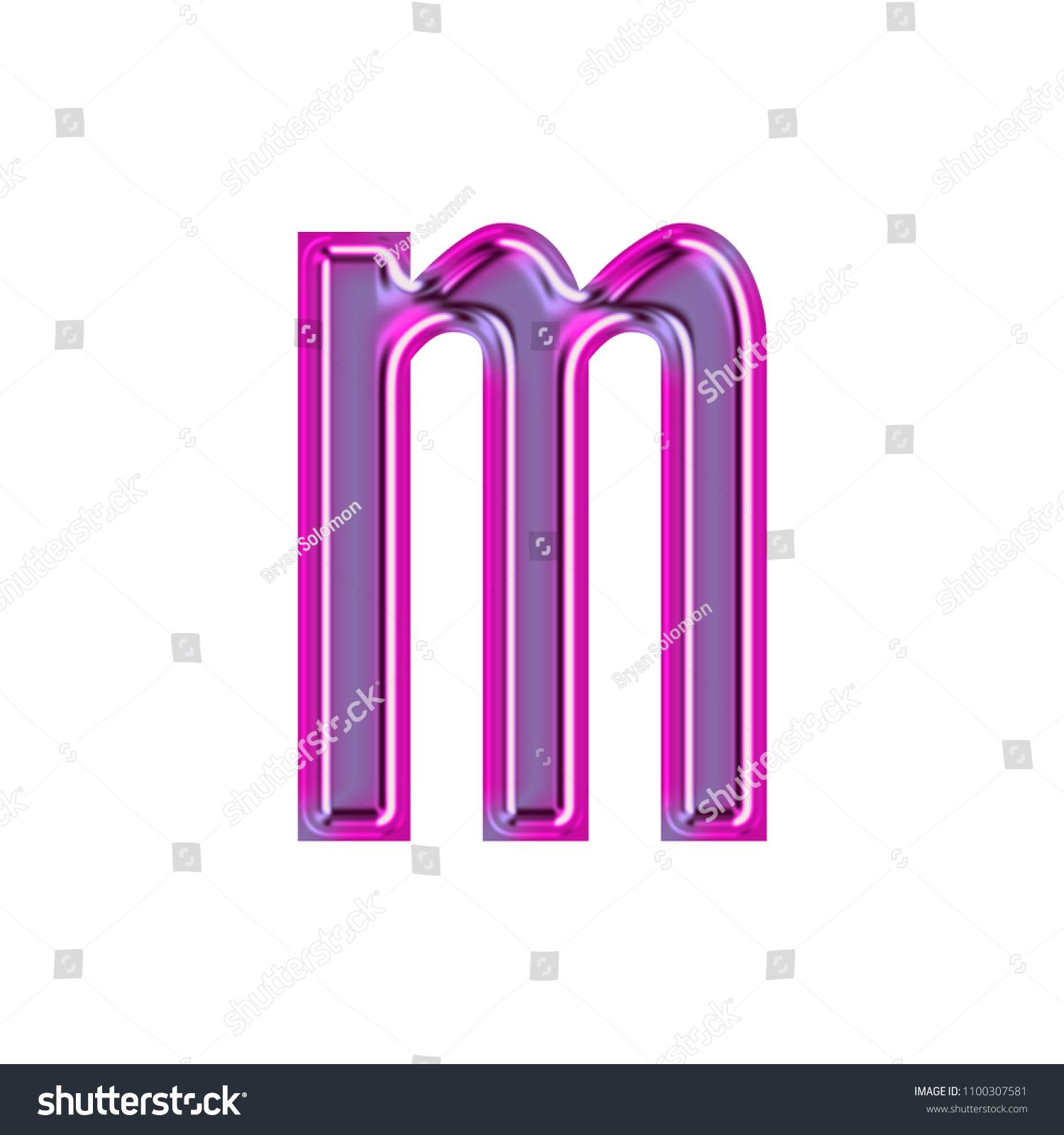 Glowing Metallic Pink Purple Color Letter Stock Illustration ...