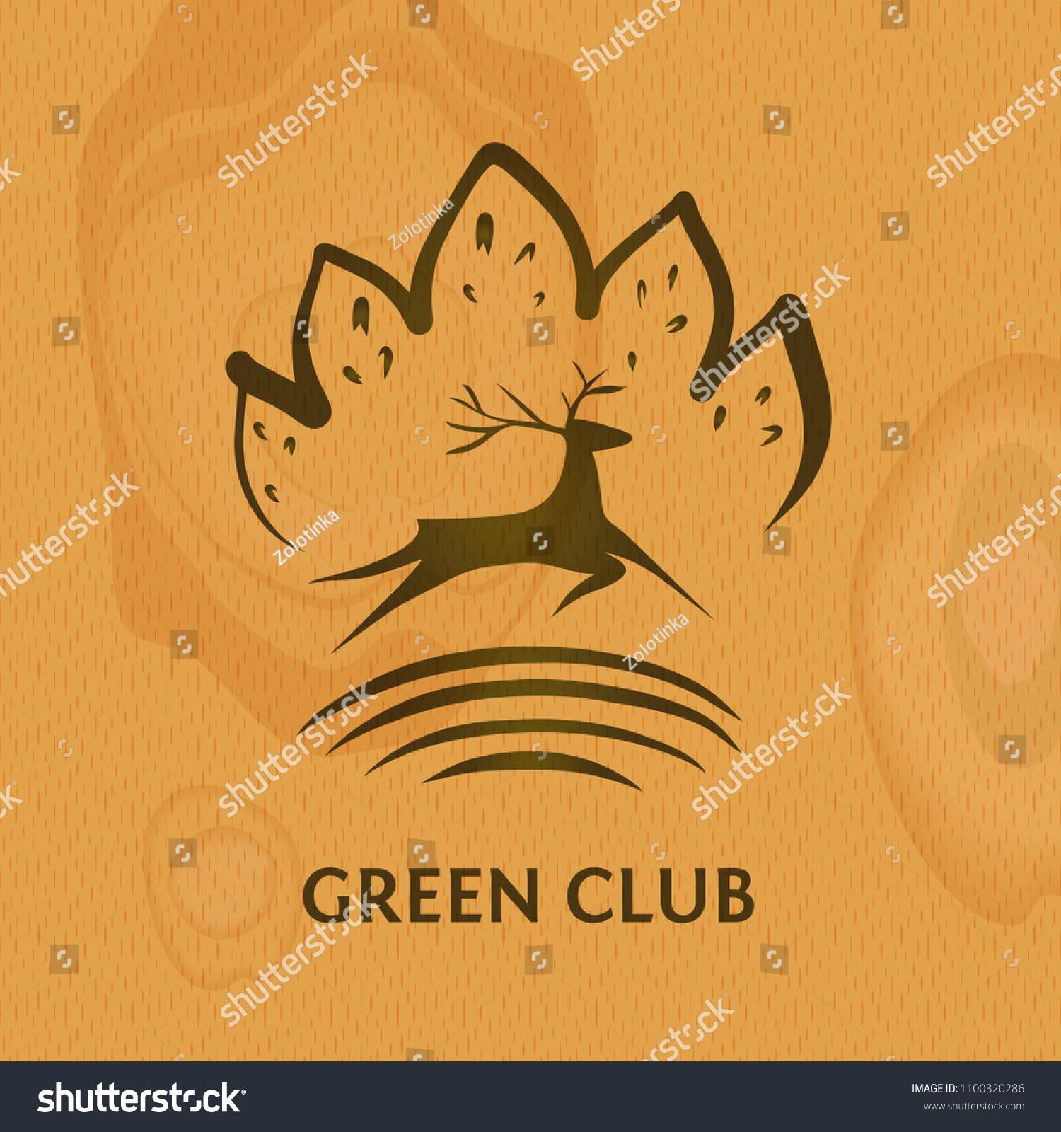 Green Club Logo Silhouette Deer On Stock Vector Royalty Free