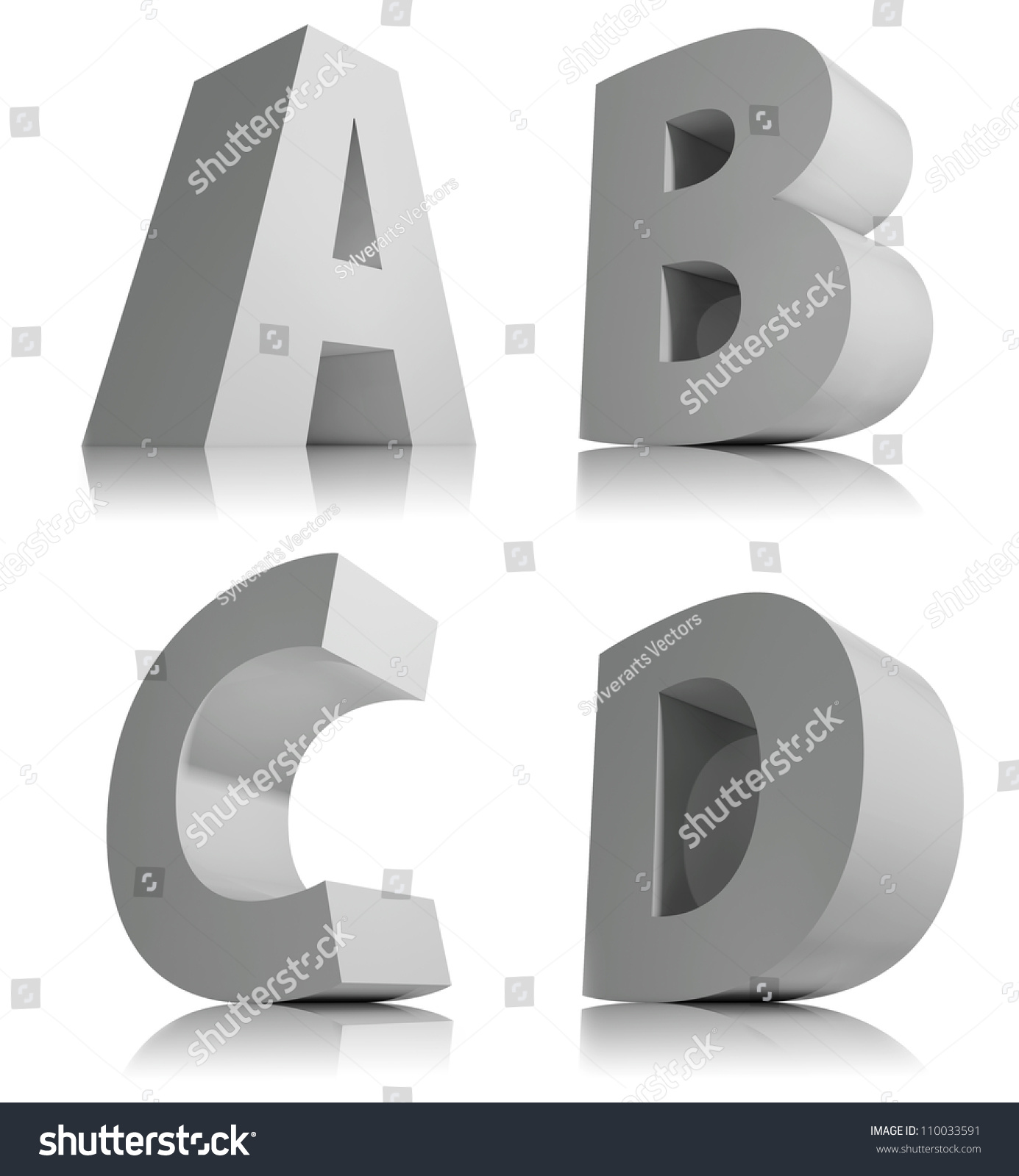 Big 3d Letters Isolated On White Stock Illustration 110033591 ...