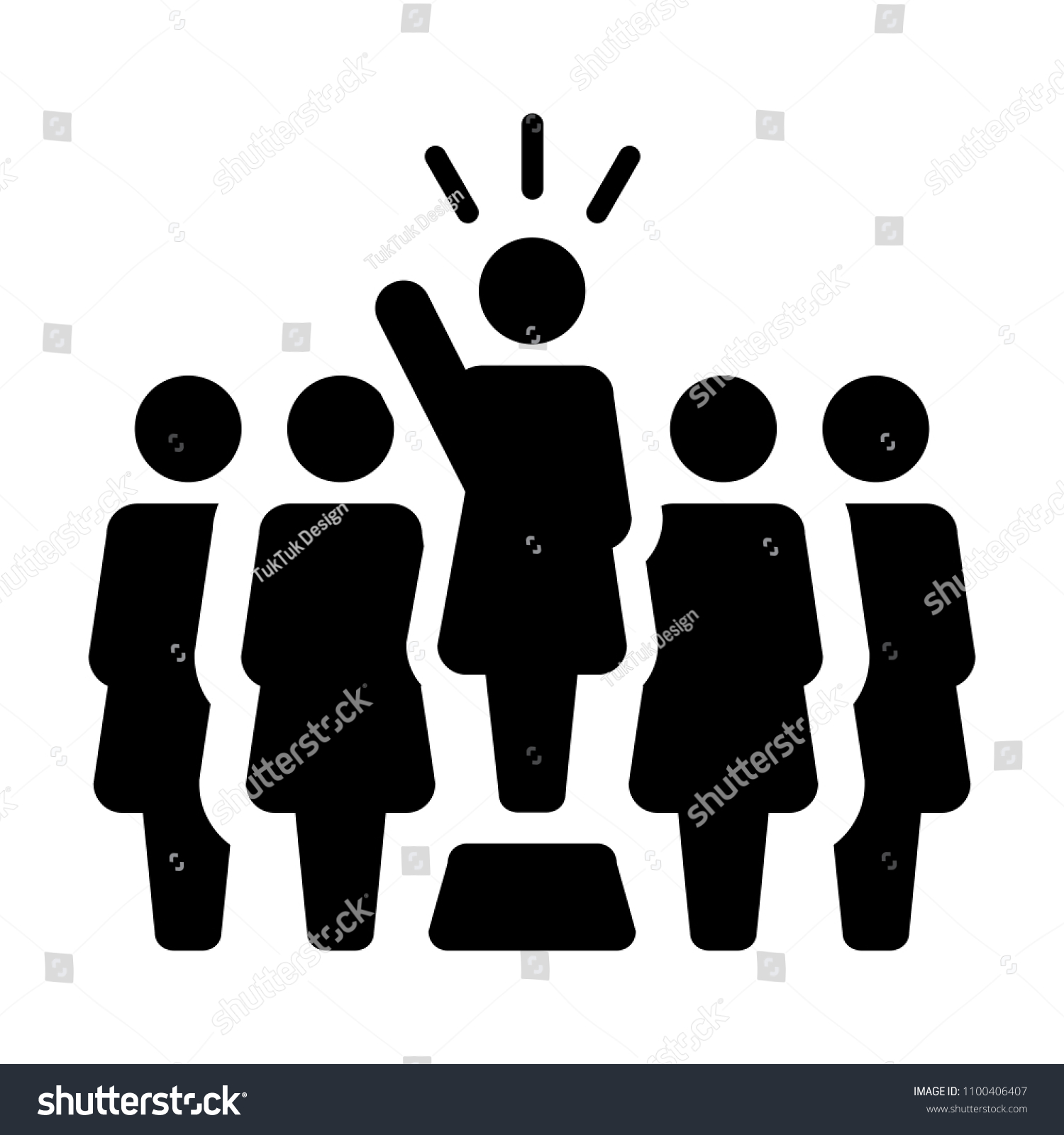 Leader Icon Vector Female Public Speaker Stock Vector Royalty Free