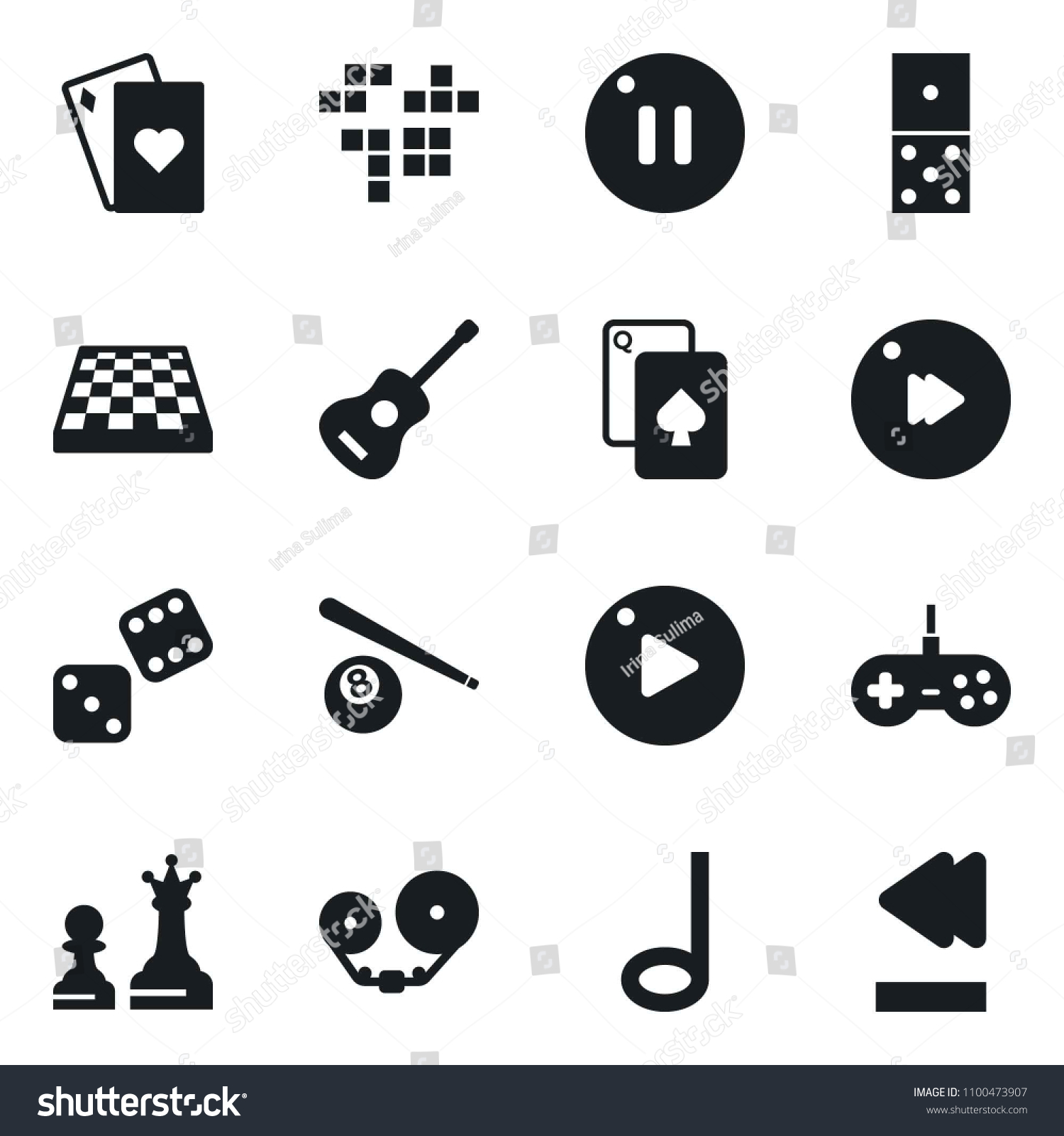 Set Of Simple Vector Isolated Icons Domino Vector, Playing Cards,