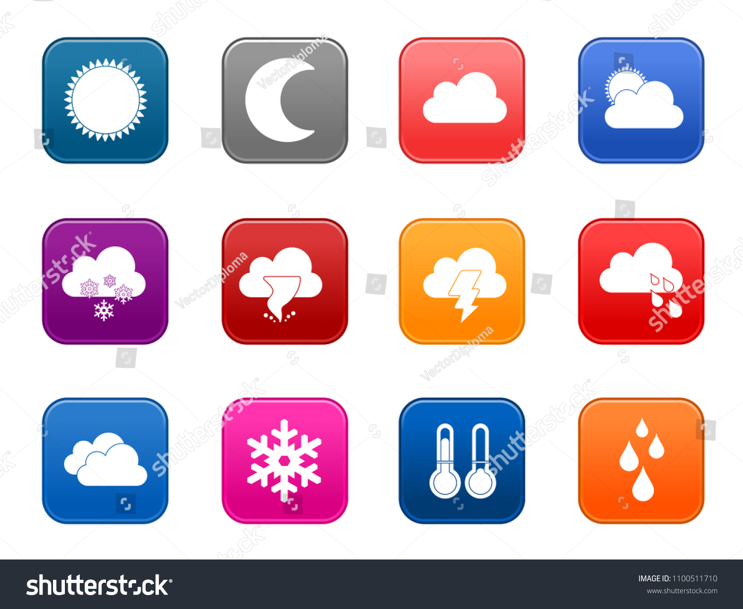 Vector Weather Forecast Icons Climate Sign Stock Vector Royalty