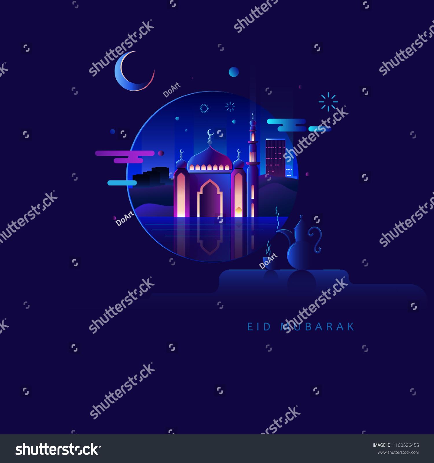 Eid Mubarak Flat Illustration With A Warm Dark Blue Background As