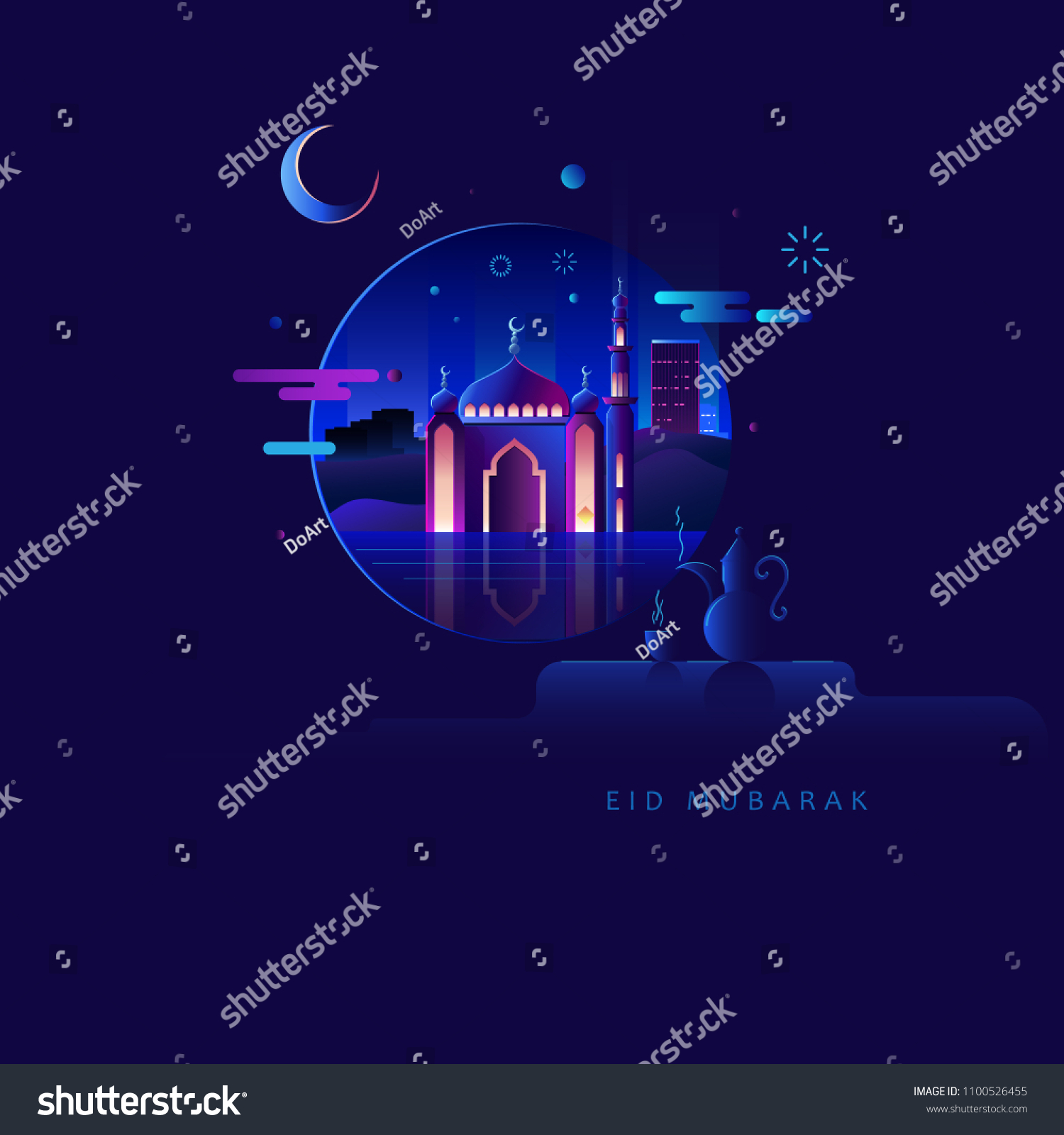 Eid Mubarak Flat Illustration Warm Dark Stock Illustration