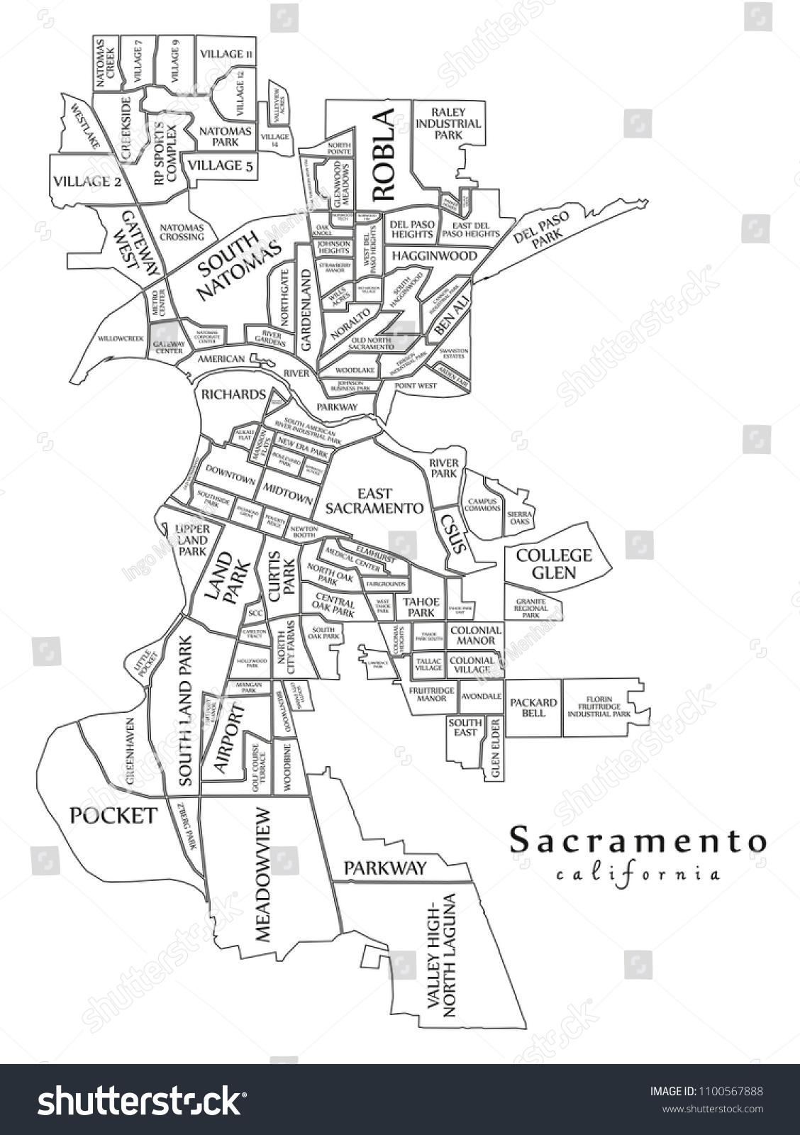 Modern City Map Sacramento California City Stock Vector ... on lancaster map outline, chico map outline, inglewood map outline, fullerton map outline, san francisco map outline, washington and oregon map outline, usa map outline, inyo county map outline, avalon map outline,