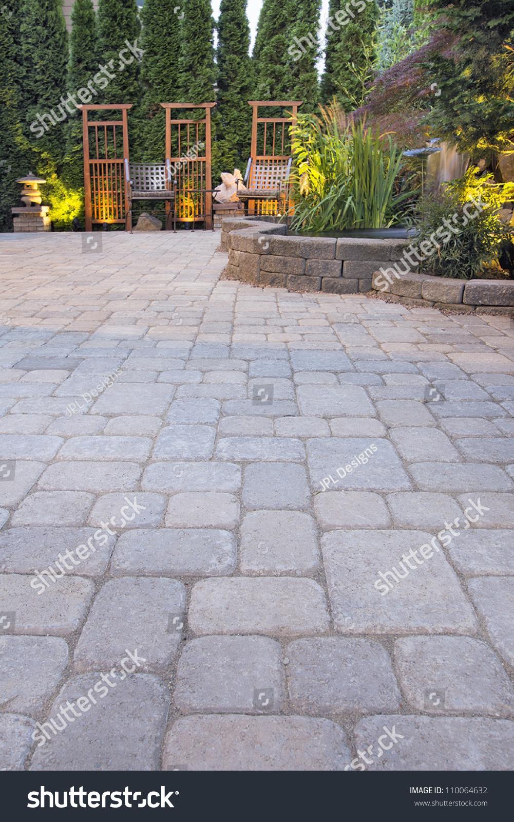 Garden Paver Patio With Trellis Japanese Stone Lantern