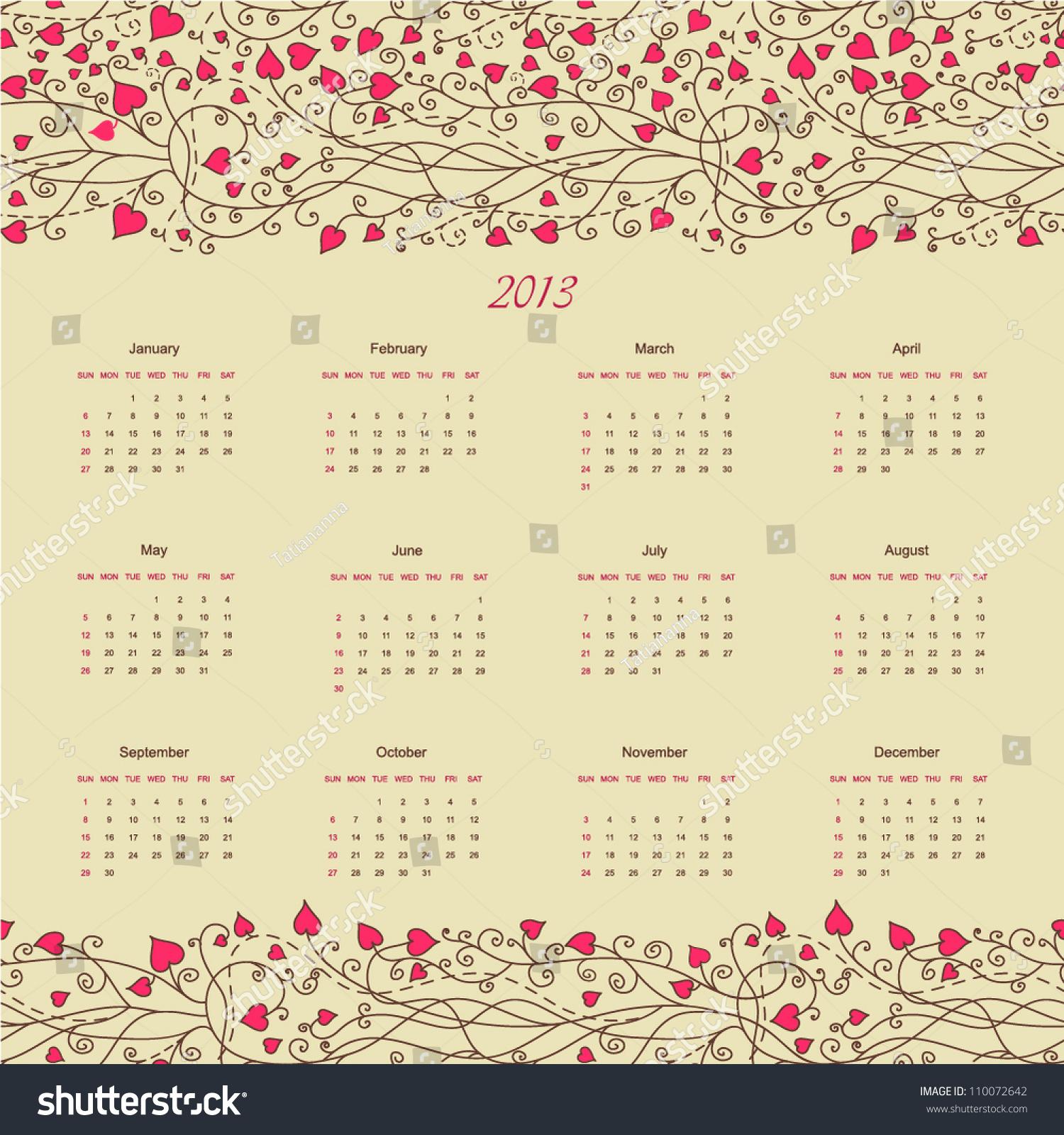 Calendar Design Drawing : Calendar new year hand drawing floral retro