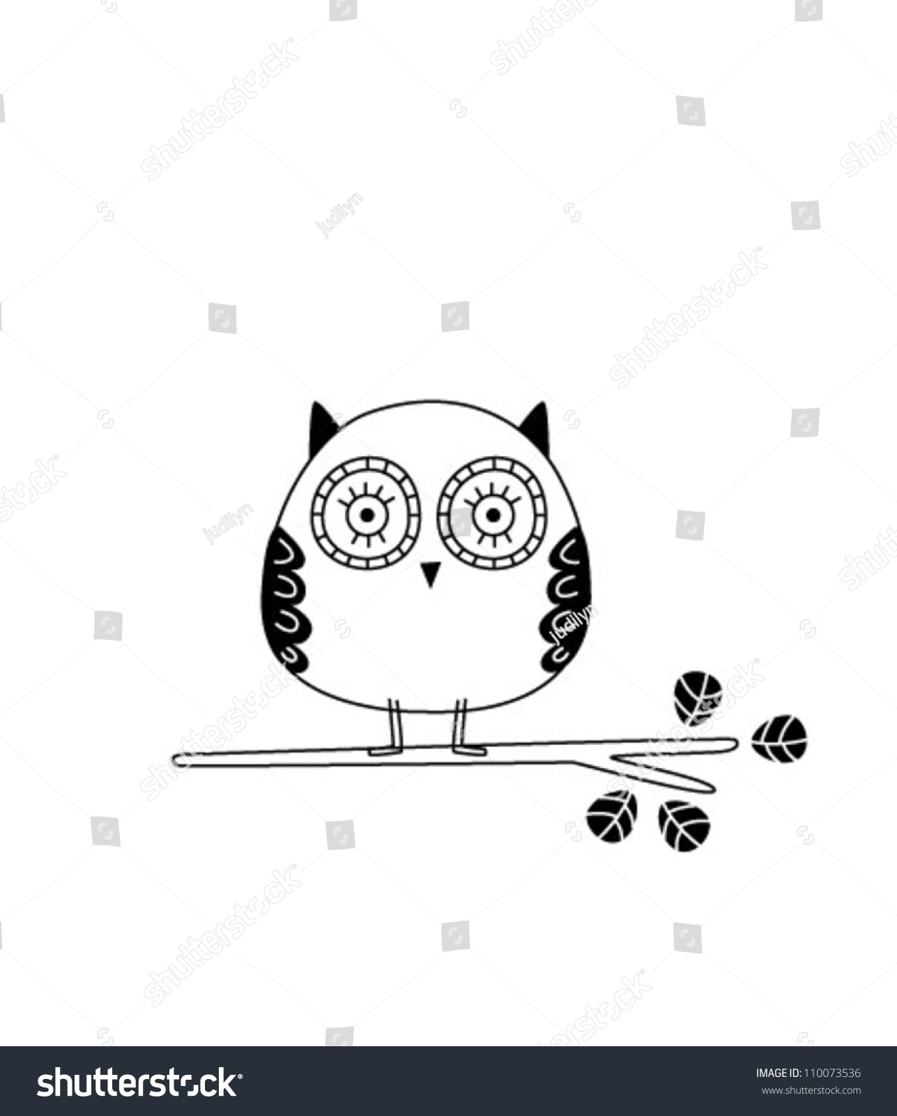 Cute Owl Wallpaper Stock Vector Royalty Free 110073536